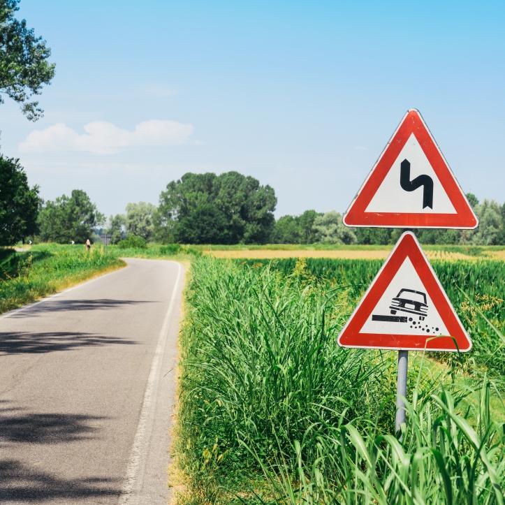 danger sign on road