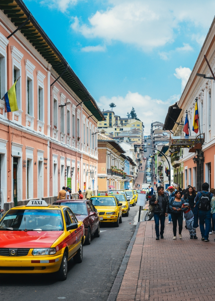 ecuador street with taxis