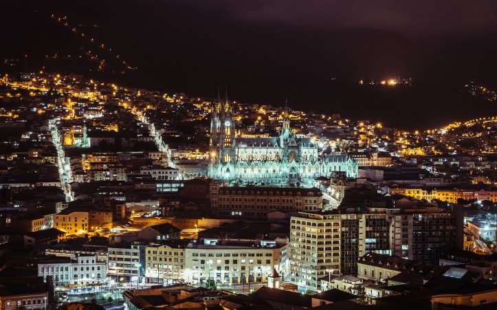 quito cathedral at nigh