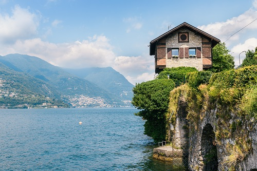 Lake Como, Lombardy, small alpine house on Italian Lakes