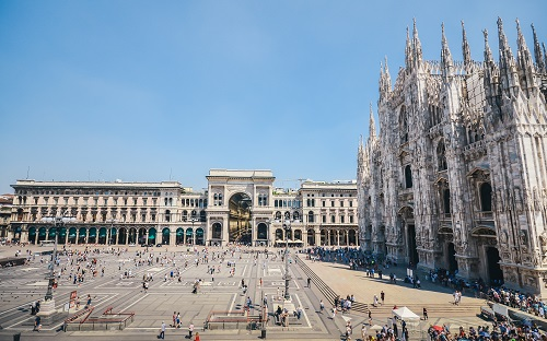 Milan, Italy - July 13th, 2017: Piazza Duomo in Milan, Italy - wide angle