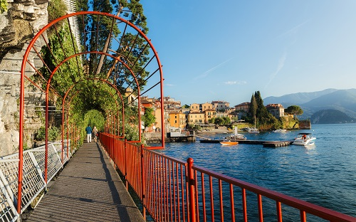 Walk of love in Varenna, Italy overlooking Lake Como