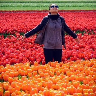 Woman tulip fields