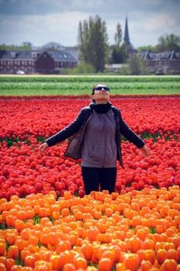 Woman tulip fields