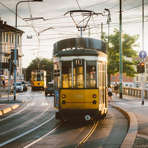 View of old yellow tram in Milan, italy