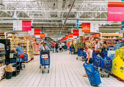 Shoppers in a Carrefour supermarket in Antibes, France
