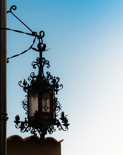 Traditional lamp post in Eze, Cote d'Azur, France
