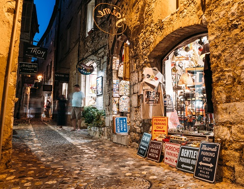Touristic shops in Saint-Paul-de-Vence, Cote d'Azur, France