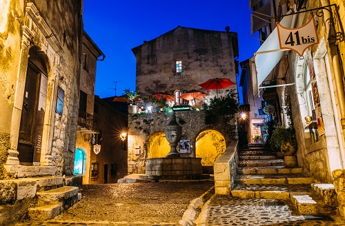 Quaint medieval village of St. Paul de Vence in Cote d'Azur, France