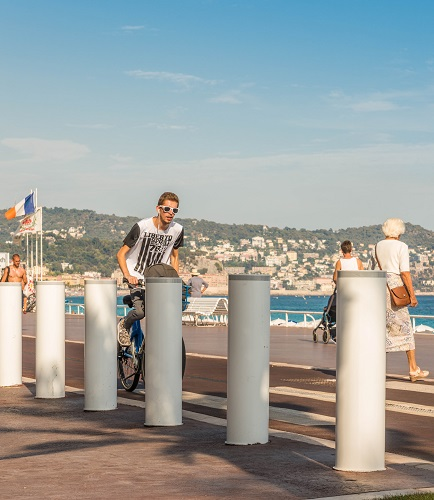 Security barriers in Nice, France