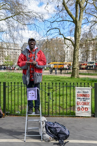 Christian Preacher. Speakers Corner, Hyde Park, London, England
