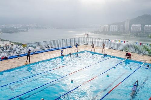 Swimming pool at Pavao Pavaozinho favela in Rio de Janeiro, Brazil
