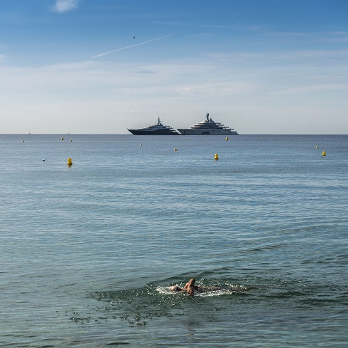 Lone swimmer with luxury yachts in the background