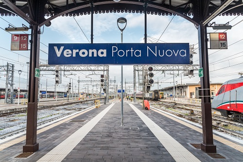Verona Porta Nuova train station in Italy