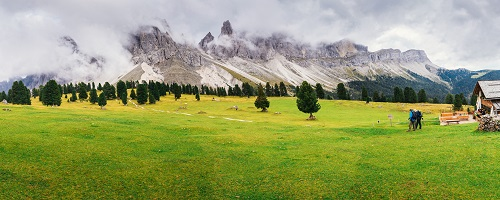 Hikers in Dolomites