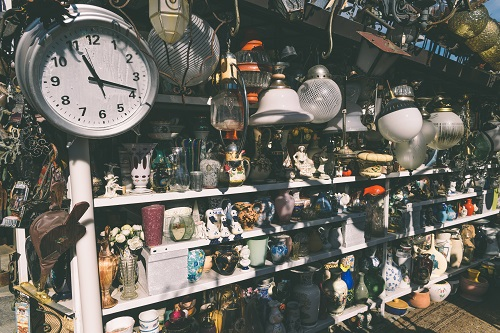Antiques for sale to bargain hunters in a shop in Italy