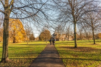 Beautiful sunny autumn day in the Royal Park of Hyde Park in Central London, UK