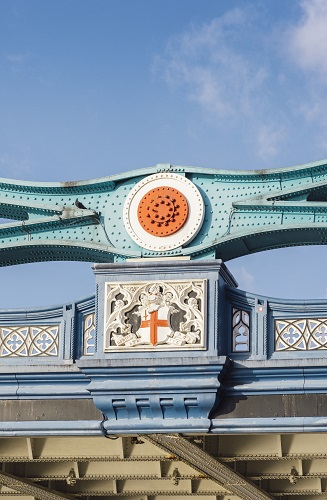 Detail of facade of London Bridge, UK in sunny day