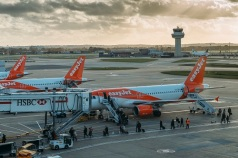 London Gatwick, UK - Nov 23rd, 2017: Passengers disembark from an Easyjet airplane at London's Gatwick airport