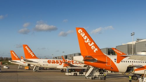 London Gatwick, UK - Nov 23rd, 2017: Easyjet airplanes and airport personnel at London's Gatwick airport - South Terminal