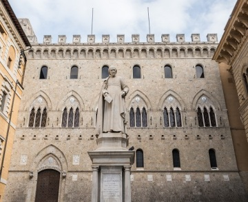Siena, Italy - October 28th, 2017: Headquarters in Siena, Italy of Banca Monte dei Paschi di Siena, the oldest surviving bank in the world and going through financial troubles