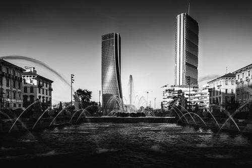 CityLife modern district of Milan, Lombardy, Italy in monochrome fine art style