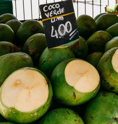 Ripe coconuts for sale in a street market in Rio de Janeiro, Brazil
