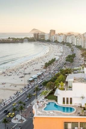 Avenida Atlantica and Copacabana Beach in Rio de Janeiro, brazil at sunset