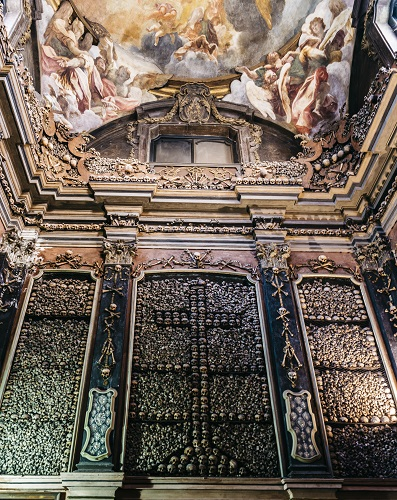 The evocative crypt of San Bernardino alle Ossa, Milan, Italy