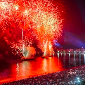 Rio de Janeiro, Brazil - January 1st, 2018: Revellers, both Local (cariocas) and tourist, enjoy the breath-taking New Years 2018 fireworks display along Copacabana Beach, Rio de Janeiro, Brazil. The world's biggest New Years' party with 3 million visitors.