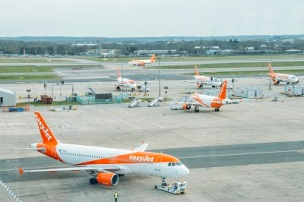 London Gatwick, March 15th, 2018: Airbus A320 airplanes belonging to low cost airliner, easyJet, on tarmac at London Gatwick's North Terminal