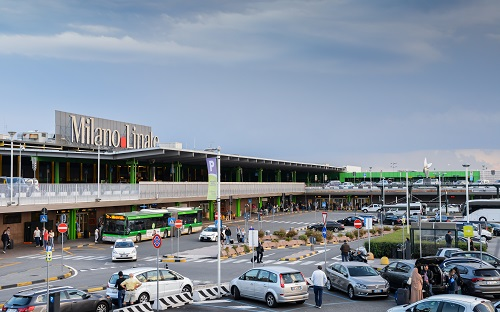 Entrance to Milan Linate, which services short and medium-range destinations in Europe and is Alitalia's hub