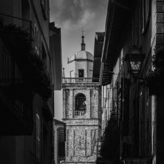 Dramatic monochrome Church San Giacomo in Bellagio, lake Como, Italy