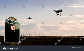 stock-photo-a-silhouette-of-a-drone-flying-near-an-airport-with-a-no-drone-sign-in-the-foreground-1264805407
