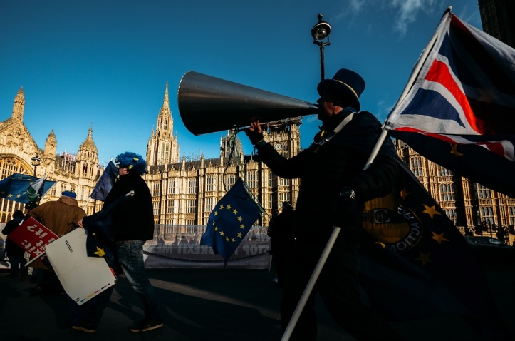 Pro and anti-Brexit protesters, Westminster, London, UK