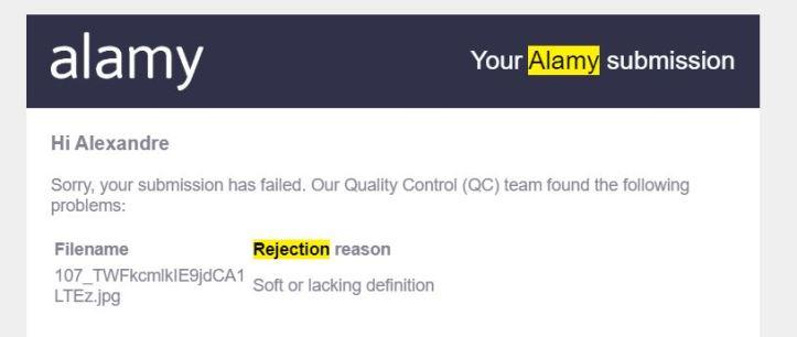 alamy rejection