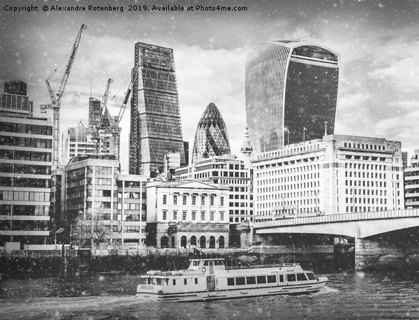 London City EC1 and Thames River view with snow falling in monochrome