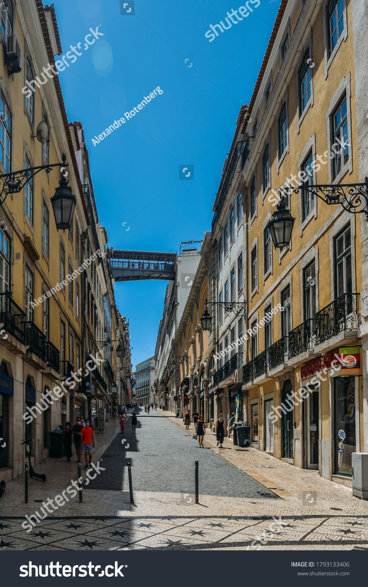 stock-photo-lisbon-portugal-august-rua-do-carmo-lisbon-tourist-route-normally-busy-pedestrian-way-1793133406